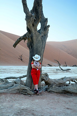 Namibia, Sleeping Cowboy in the Early Morning at Deadvlei