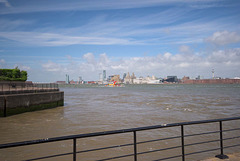 Wide angle view of Liverpool and the Mersey ferry.