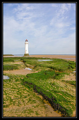 Wide angle view of the Perch Rock Lighthouse