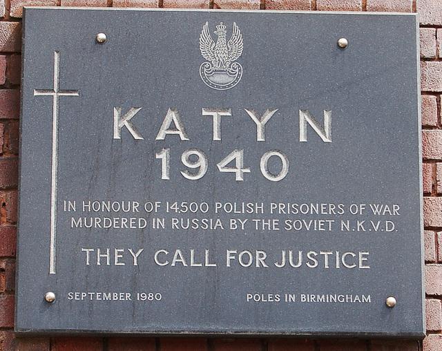 Katyn Memorial, Katyn House, Polish Centre, Bordesley Street, Birmingham