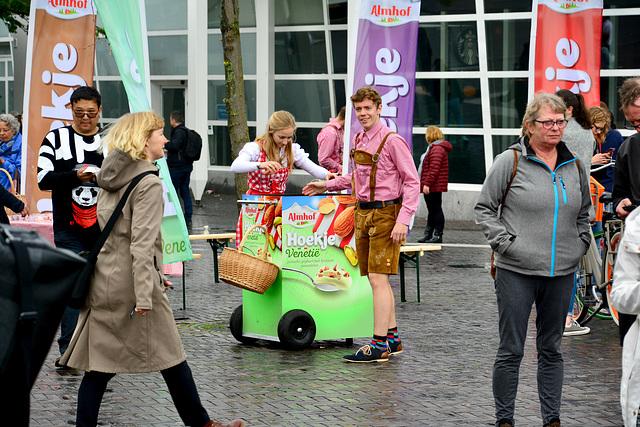 Handing out samples of German yoghurt