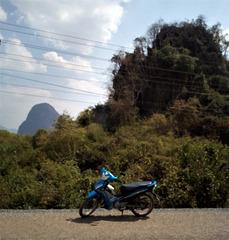 Notre petite moto louée au Laos
