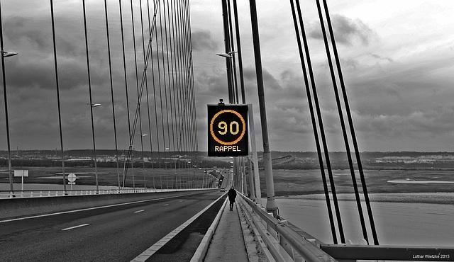 Per pedes auf die Pont de Normandie...