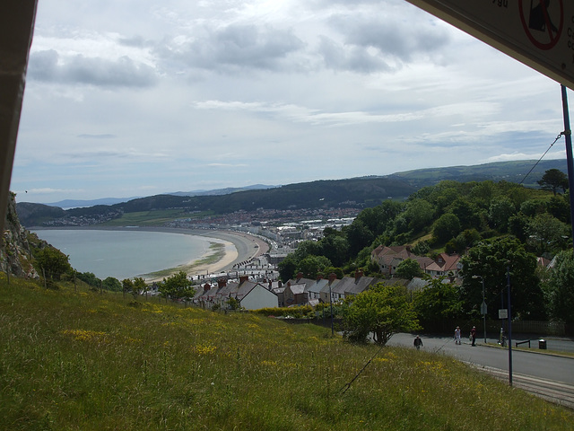 DSCF9827 A view of Llandudno's sweeping bay seen from Great Orme Tramway car 4