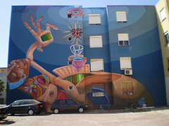 "Mural by Utopia, inspired on ""macumba"" (African witchcraft)."