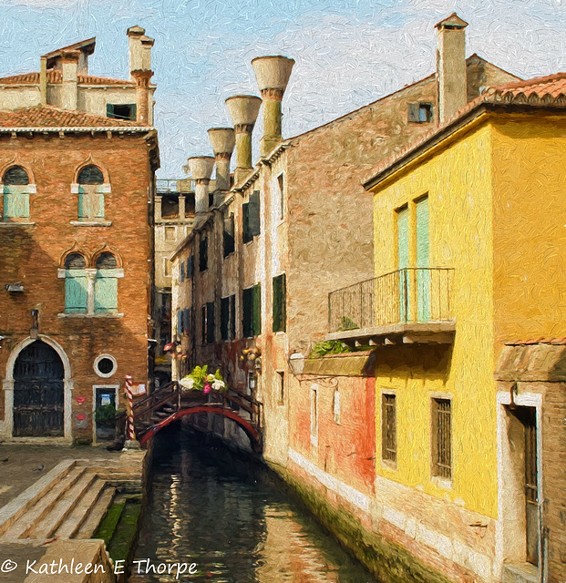 Venice back canal and chimneys - Topaz Painting Oil Paint by Jim LaSala