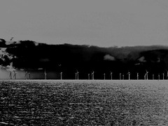 black + grey - a Photoshopped view of the Rampion Wind-farm, from Seaford beach.