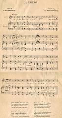 La Espero - la unua muzika versio de Claes A. Adelköld (1891)