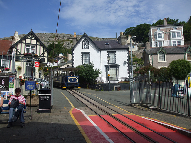 DSCF9823 Great Orme Tramway car 4 approaching  Victoria Station
