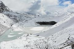 Frozen Moraine Lake of Ngozumba Glacier