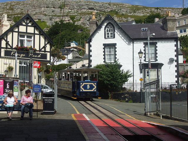 DSCF9822 Great Orme Tramway car 5 leaving  Victoria Station