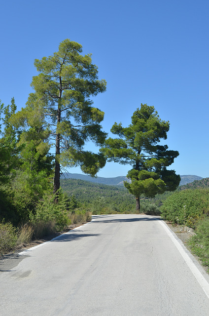 Rhodes Inland Road through the Mountains