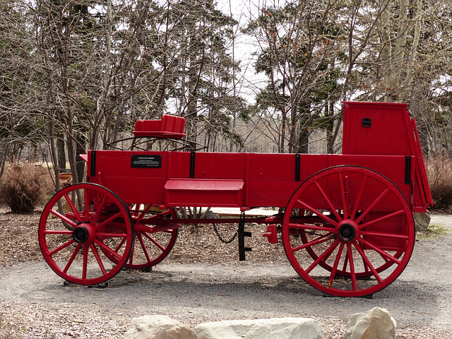 Red wagon by Bow Valley Ranch