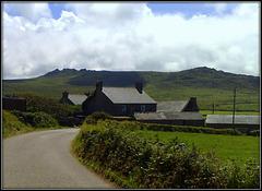 Porthmeor Farm, Zennor. The hill behind is Carn Galva