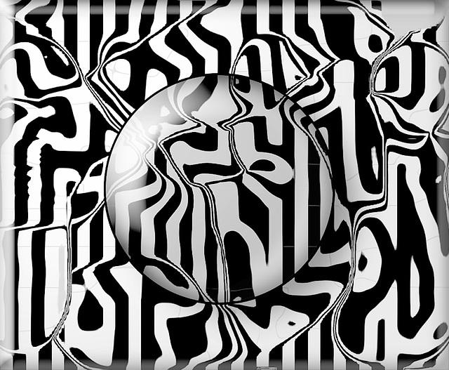 navy & white stripes liquify glass button B&W