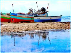 Hammamet : sulla spiaggia un'altra grande pozza di acqua dolce piovana !