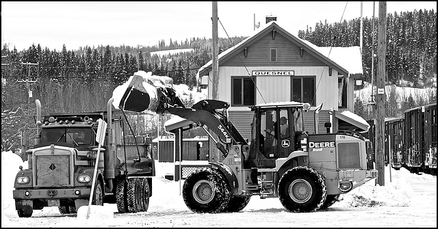 Snow removal at the Quesnel station.