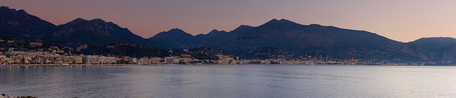 panorama of Roquebrune and Menton at dawn
