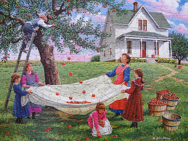 'Bushels of Fun' 300 Pc Jigsaw Puzzle Art by John Sloane Mfgd by Bits and Pieces