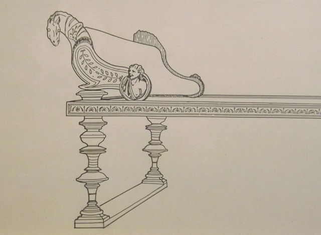 Restored Drawing of Bronze Attachments Decorating a Fulcrum in the British Museum, April 2013