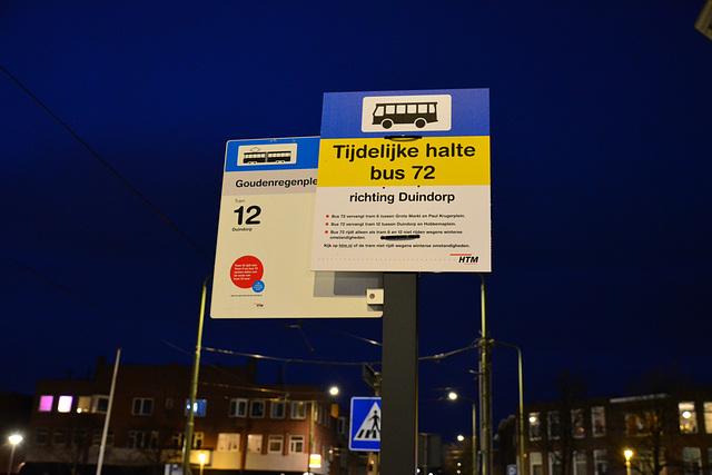 Temporary bus stop line 72