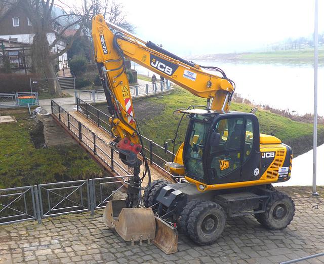 Rathen - Bau einer provisorischen Brücke