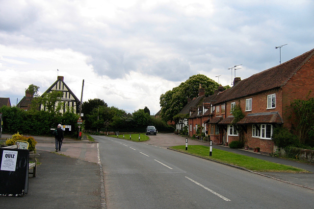 Aston Cantlow with Village Hall on the left and King's Head to the right