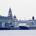 Liverpool, the Royal Liver Building and a cruise ship ..