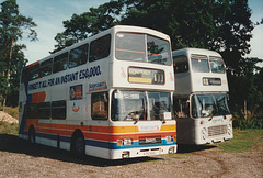 United Counties K712 ASC and TNH 871R at Fiveways Garage, Barton Mills - 30 Sep 1995