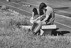 Tendresse sur le banc .