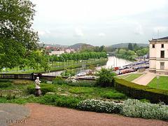 Saarbrücken, Blick vom Schloss auf die Saar