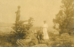 Man and Woman at General Warren Statue, Little Roundtop, Gettysburg, Pa., August 27, 1907