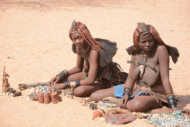 Namibia, Souvenir Sellers in the Himba Village of Onjowewe