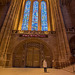 My sister looking at the stained glass windows. Anglican cathedral, Liverpool