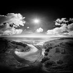 Lunan Bay and Redcastle BW