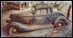 the car in the barn...
