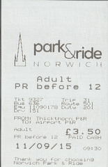Norwich Park and Ride bus ticket