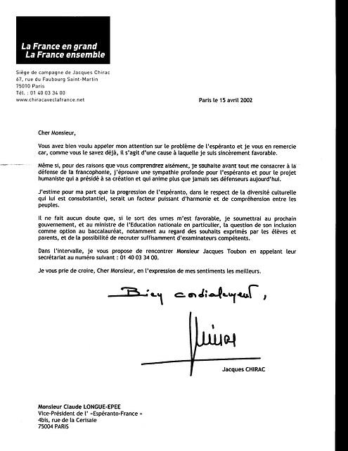 Espéranto : Lettre de Jacques Chirac à Claude Longue-Épée, 2002