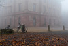 Jagdschloss Platte im Nebel
