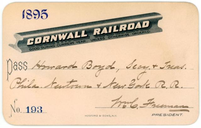 Cornwall Railroad Company Pass, Cornwall, Pa., 1895