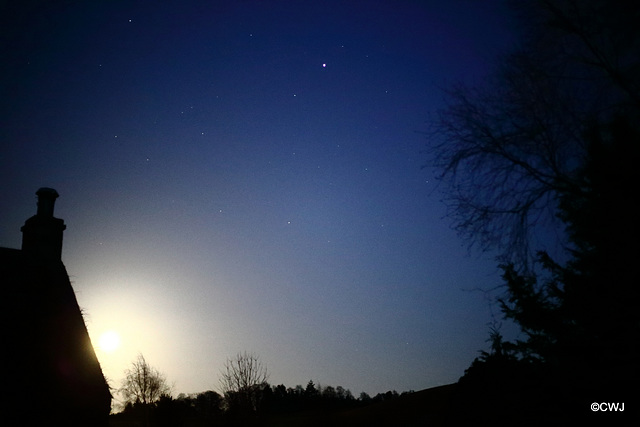 It's a clear moonlit night with the stars beginning to appear.