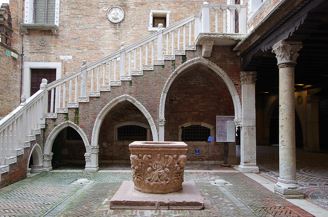 Courtyard with font