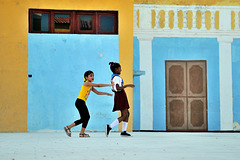 Kids playing at the market place in Trinidad Cuba