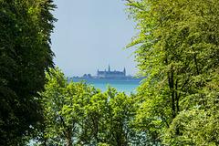 View of the Kronborg Castle in Helsingør, Denmark from Sofiero Palace (Sofiero Slott), Helsingborg, Sweden